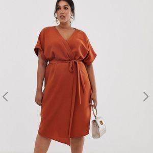 ASOS midi wrap dress in rust